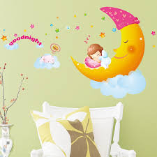 large size sweet dream moon good night cartoon wall sticker for kids room decor wall decals