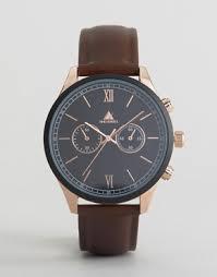 men s watches digital designer watches asos asos watch in brown rose detail