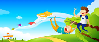cartoon flying tree house books kids home from background