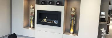 installation of a bio ethanol fireplace in a tailor made cabinet