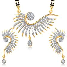 home youbella american diamond gold plated mangalsutra pendant with chain and earrings for women zoom