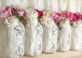Ball Jar Decorations 60 Ivory Lace Covered Ball Mason Jar Vases Wedding Decoration 29