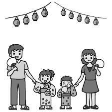 家族で夏祭りモノクロ花火夏祭り夏枠ふきだし無料イラスト素材