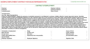 Sales Representative Employment Contract | Agreements & Contracts ...