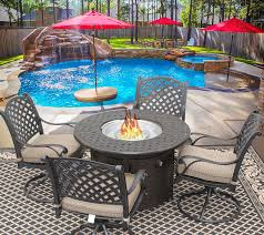 nassau 42 round outdoor patio 5pc dining set for 4 person with round fire table series 7000 antique bronze finish