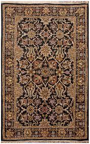 farsh persian style hand made wool black rug 19214