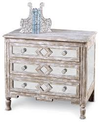 Calais French Country Diamond Antique Mirror Bedside Chest, 42