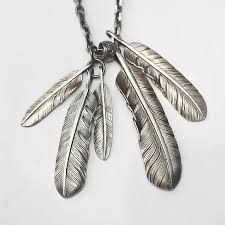 silver feather pendant native american inspired silver feather charm eagle feather necklace feather jewelry tribal feather pendant