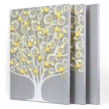 gray and yellow wall art tree on canvas triptych large gallery 6 of 15