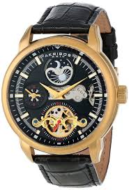 review for akribos xxiv men s ak541yg mechanical dual time open gold watches for men akribos xxiv
