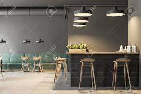 Industrial Style Bar Interior With Dark Gray Walls A Concrete