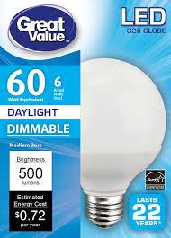 Walmart Great Value Led Light Bulbs Great Value Led Light Bulb 6w 60w Equivalent G25 Globe