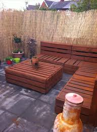 pallet furniture patio. pallet corner settee for your reed fenced spectacular patio furniture ideas u