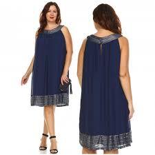 Slny Womens Plus Size Silver Embroidered Neckline Chiffon Dress