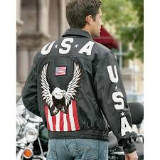 men s interstate leather eagle leather jacket eagle and american flag detail on back