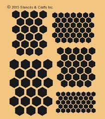 Beehive Pattern Best HONEYCOMB HEXAGON STENCIL 48 Different Shapes Beehive Pattern Etsy