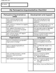Persuasive Essay Rubric 5th 8th Grade Act Aspire Persuasive Writing Checklist Student