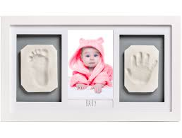 lovely baby handprint footprint picture frame kit the perfect shower gift for boys and girls and a forever registry memory all in a premium large wood
