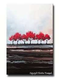custom original art abstract painting red trees large textured modern tree landscape on wall art trees large with custom original art abstract painting red tree textured