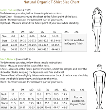 Natural Size Chart Organic Cotton T Shirt Special
