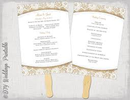 Wedding Program Fans Cheap Wedding Program Fan Template Rustic Burlap Lace Etsy