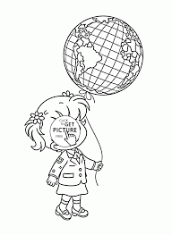 Small Picture Girl and Balloon Globe Earth Day coloring page for kids