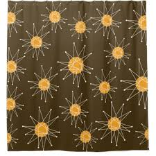 coral and brown shower curtain. mid-century modern starburst pattern brown shower curtain coral and