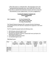Memorandum Sample Attachment 8 D Sample Tec Selection Memorandum U S Agency For
