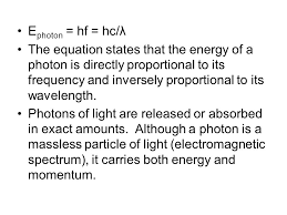 e photon hf hc λ the equation states that the energy of a