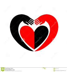 Be A Heart Design Hands Embracing A Heart Original Icon With Black And Red