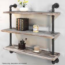 industrial style shelving. 92cm 3 Level Rustic Industrial Style Pipe Shelf Shelving L
