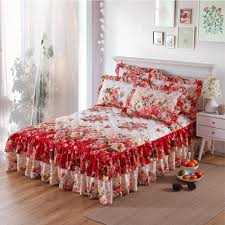 bed skirts for sale. Interesting Bed Graceful Quilted Thickened Bedspread Laced Fitted Sheet TwoLayer Bed Cover  Wedding Housewarming Gift Style And Skirts For Sale O