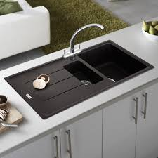 modern design ideas using silver single hole faucets and white quartz countertops also with rectangular black sinks kitchen