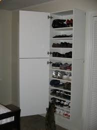 interior, Simple And Minimalist Designed Wooden Ikea Shoe Closet Ideas  Which Is Painted In White