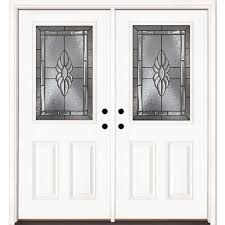 Feather River Doors 74 in. x 81.625 in. Sapphire Patina 1/2 Lite ...