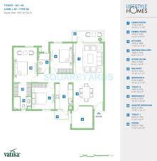 vatika lifestyle homes tower view 3 bhk 1827 sq ft apartment floor plan