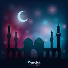 Light Month Ramadan Kareem Religious Night Mosque Under The Light Of