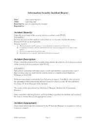 Incident Report Sample Format Incident Investigation Report Template