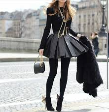 super cute black leather skirt outfit to dress with to a party