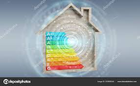 Rendering Energy Rating Chart Wooden House Grey Background
