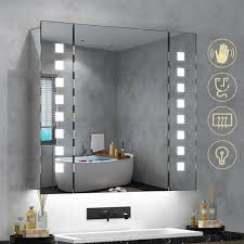 Wall Mirror With Lights Quavikey 650 X 600mm Led Illuminated Bathroom Mirror Cabinet Aluminum Bathroom Mirror With Shaver Socket Demister Square Lights