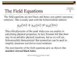 the field equations the field equations are non linear and hence you cannot superpose solutions