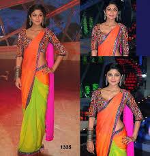 Green, Pink And Orange Combination saree