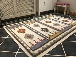 wool rug multi colour geometric striped west elm kilim