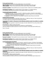 Science Report Format Lab Report Format For Scientific Method Labs By Simons
