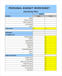 sample personal budget free personal budget template 9 free excel pdf documents