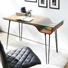 glass and wood desks features sleek rich walnut wood finish clear tempered glass top glass desk glass and wood desks