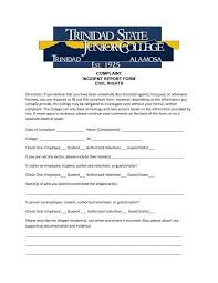 Complaint Incident Report Form Civil Rights Trinidad State