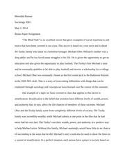 "paper ""the blind side"" meredith bremer sociology  paper 3 ""the blind side"" meredith bremer sociology 2001 2 2014 bonus paper assignment the blind side is an excellent movie that gives"