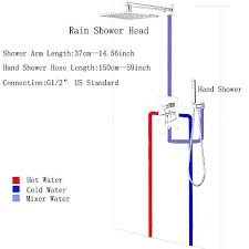 in wall shower diverter valve wall mounted 2 ways led rainfall shower faucet set bathroom 1 in wall shower diverter valve
